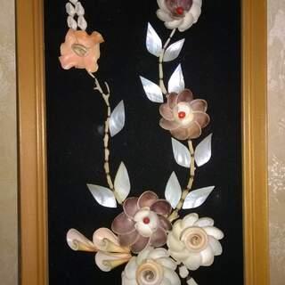 Cadre fleur coquillages